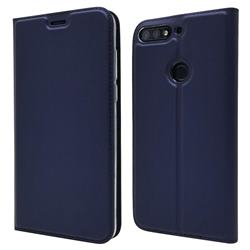Ultra Slim Card Magnetic Automatic Suction Leather Wallet Case for Huawei Honor 7C - Royal Blue