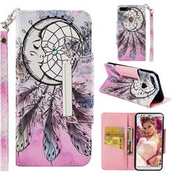 Angel Monternet Big Metal Buckle PU Leather Wallet Phone Case for Huawei Honor 7C
