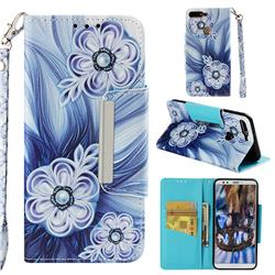Button Flower Big Metal Buckle PU Leather Wallet Phone Case for Huawei Honor 7C