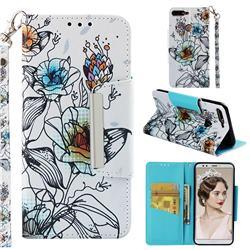 Fotus Flower Big Metal Buckle PU Leather Wallet Phone Case for Huawei Honor 7C