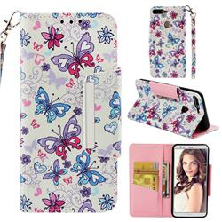 Colored Butterfly Big Metal Buckle PU Leather Wallet Phone Case for Huawei Honor 7C