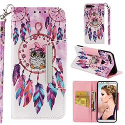 Owl Wind Chimes Big Metal Buckle PU Leather Wallet Phone Case for Huawei Honor 7C