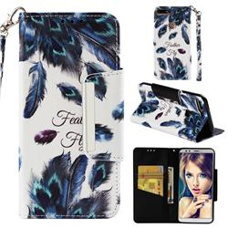 Peacock Feather Big Metal Buckle PU Leather Wallet Phone Case for Huawei Honor 7C