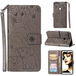 Embossing Fireworks Elephant Leather Wallet Case for Huawei Honor 7C - Gray