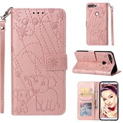 Embossing Fireworks Elephant Leather Wallet Case for Huawei Honor 7C - Rose Gold