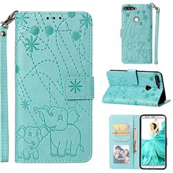 Embossing Fireworks Elephant Leather Wallet Case for Huawei Honor 7C - Green