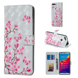 Butterfly Sakura Flower 3D Painted Leather Phone Wallet Case for Huawei Honor 7C