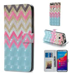 Color Wave 3D Painted Leather Phone Wallet Case for Huawei Honor 7C