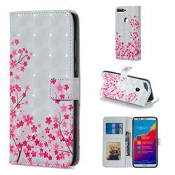 Cherry Blossom 3D Painted Leather Phone Wallet Case for Huawei Honor 7C