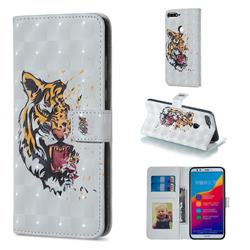 Toothed Tiger 3D Painted Leather Phone Wallet Case for Huawei Honor 7C