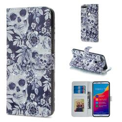 Skull Flower 3D Painted Leather Phone Wallet Case for Huawei Honor 7C