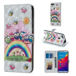 Rainbow Owl Family 3D Painted Leather Phone Wallet Case for Huawei Honor 7C