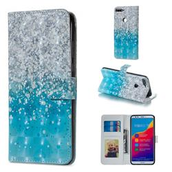Sea Sand 3D Painted Leather Phone Wallet Case for Huawei Honor 7C