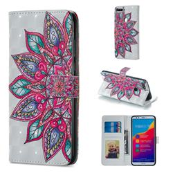 Mandara Flower 3D Painted Leather Phone Wallet Case for Huawei Honor 7C
