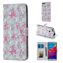 Roses Flower 3D Painted Leather Phone Wallet Case for Huawei Honor 7C