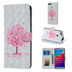 Sakura Flower Tree 3D Painted Leather Phone Wallet Case for Huawei Honor 7C