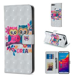 Couple Owl 3D Painted Leather Phone Wallet Case for Huawei Honor 7C