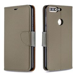 Classic Luxury Litchi Leather Phone Wallet Case for Huawei Honor 7C - Gray