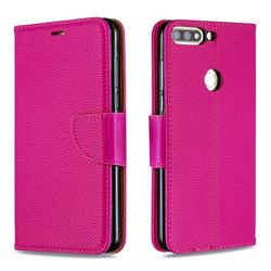 Classic Luxury Litchi Leather Phone Wallet Case for Huawei Honor 7C - Rose