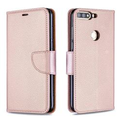 Classic Luxury Litchi Leather Phone Wallet Case for Huawei Honor 7C - Golden
