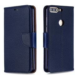 Classic Luxury Litchi Leather Phone Wallet Case for Huawei Honor 7C - Blue