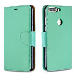 Classic Luxury Litchi Leather Phone Wallet Case for Huawei Honor 7C - Green