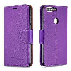 Classic Luxury Litchi Leather Phone Wallet Case for Huawei Honor 7C - Purple