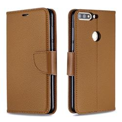 Classic Luxury Litchi Leather Phone Wallet Case for Huawei Honor 7C - Brown