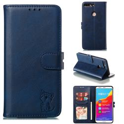 Embossing Happy Cat Leather Wallet Case for Huawei Honor 7C - Blue