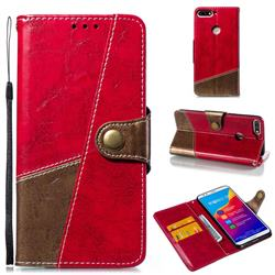 Retro Magnetic Stitching Wallet Flip Cover for Huawei Honor 7C - Rose Red