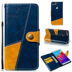 Retro Magnetic Stitching Wallet Flip Cover for Huawei Honor 7C - Blue