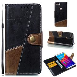 Retro Magnetic Stitching Wallet Flip Cover for Huawei Honor 7C - Dark Gray