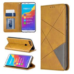 Prismatic Slim Magnetic Sucking Stitching Wallet Flip Cover for Huawei Honor 7C - Yellow