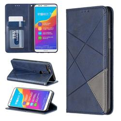 Prismatic Slim Magnetic Sucking Stitching Wallet Flip Cover for Huawei Honor 7C - Blue