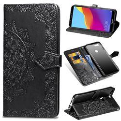 Embossing Imprint Mandala Flower Leather Wallet Case for Huawei Honor 7C - Black