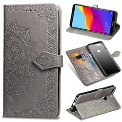 Embossing Imprint Mandala Flower Leather Wallet Case for Huawei Honor 7C - Gray