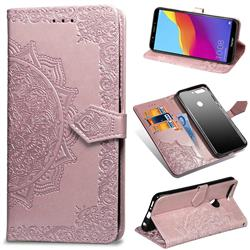 Embossing Imprint Mandala Flower Leather Wallet Case for Huawei Honor 7C - Rose Gold