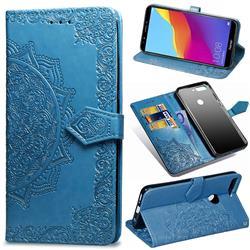 Embossing Imprint Mandala Flower Leather Wallet Case for Huawei Honor 7C - Blue