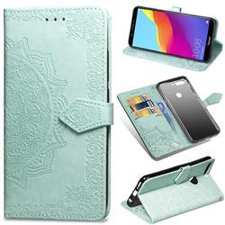 Embossing Imprint Mandala Flower Leather Wallet Case for Huawei Honor 7C - Green