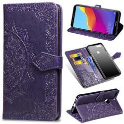 Embossing Imprint Mandala Flower Leather Wallet Case for Huawei Honor 7C - Purple