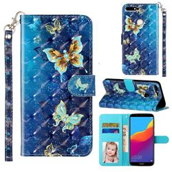 Rankine Butterfly 3D Leather Phone Holster Wallet Case for Huawei Honor 7C