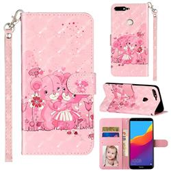 Pink Bear 3D Leather Phone Holster Wallet Case for Huawei Honor 7C