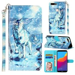 Snow Wolf 3D Leather Phone Holster Wallet Case for Huawei Honor 7C