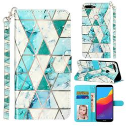 Stitching Marble 3D Leather Phone Holster Wallet Case for Huawei Honor 7C