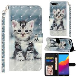 Kitten Cat 3D Leather Phone Holster Wallet Case for Huawei Honor 7C
