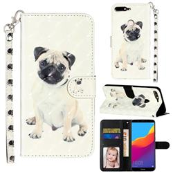 Pug Dog 3D Leather Phone Holster Wallet Case for Huawei Honor 7C