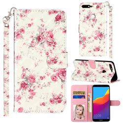 Rambler Rose Flower 3D Leather Phone Holster Wallet Case for Huawei Honor 7C