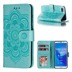 Intricate Embossing Datura Solar Leather Wallet Case for Huawei Honor 7s - Green