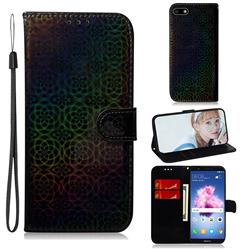 Laser Circle Shining Leather Wallet Phone Case for Huawei Honor 7s - Black