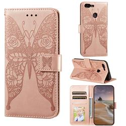 Intricate Embossing Rose Flower Butterfly Leather Wallet Case for Huawei Honor 7s - Rose Gold